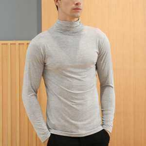 Hình thu nhỏ sản phẩm YANYI Men Modal Highneck Lapel Thermal Underwear Tight-fitting Long-sleeved Base Shirt Tops