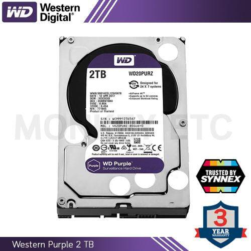 HDD (ฮาร์ดดิสก์) WD PURPLE 2.0TB (WD20PURZ) by Synnex