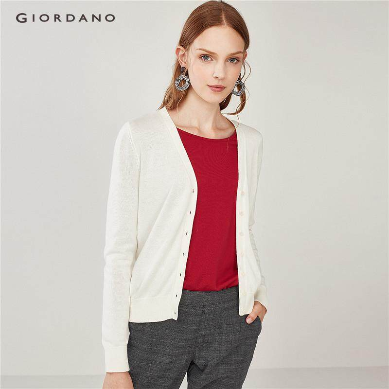 Giordano Women V-neck long-sleeve cardigan [Free Shipping] 05358653