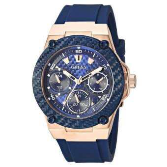 GUESS Multifunction Rose Gold Blue Rubber Strap W1094L2