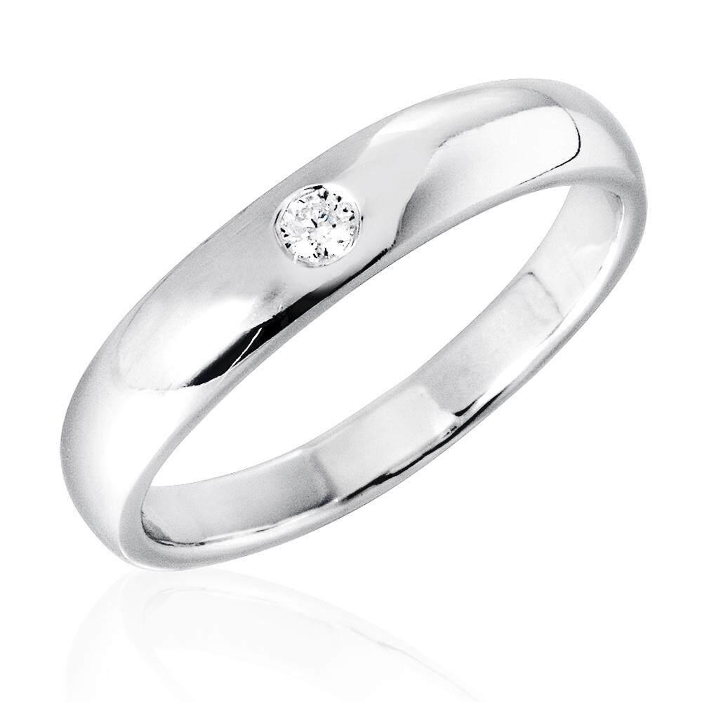 รีวิว Beauty Jewelry 925 Silver Jewelry แหวนคู่รัก แหวนวาเลนไทน์ Valentine แหวนหมั้น แหวนแต่งงาน แหวนเงินแท้ประดับเพชร CZ 2 วง รุ่น SS2270-RR เคลือบทองคำขาว