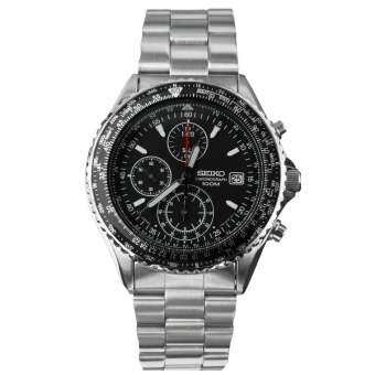 Seiko Flightmaster Pilot Slide Rule Chronograph Men's Watch Silver Strap รุ่น SND253P1