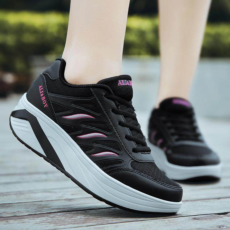 ALI&BOY Outdoor sport Sneakers Slimming Running shoes women summer 5cm wedges Swing Fitness baskets femme homme Shake shoes(รุ่น2018)