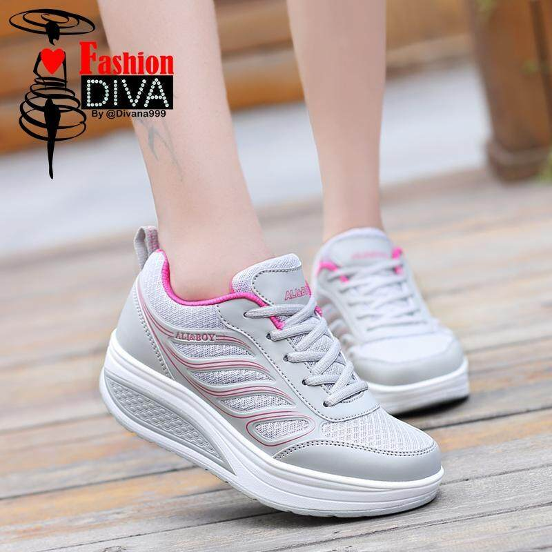 ALI&BOY Brand Women Running Shoes Female Sports Shoes Non Slip Damping Outdoor Pu Leather Sneakers Fitness shoes (ปีกนางฟ้า)