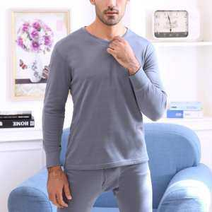 Hình thu nhỏ sản phẩm Big Sale 2Pcs Men Thin Solid Thermal Underwear Set V-type Neck Thermal Underwear Set