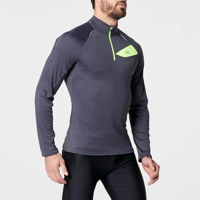 เสื้อยืดแขนยาวใส่วิ่งเทรลสำหรับผู้ชาย (สีเทาเข้ม/เหลือง)