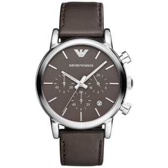 นาฬิกาข้อมือผู้ชาย EMPORIO ARMANI Emporio Chronograph Brown Dial Brown Leather Strap Men's Watch AR1734