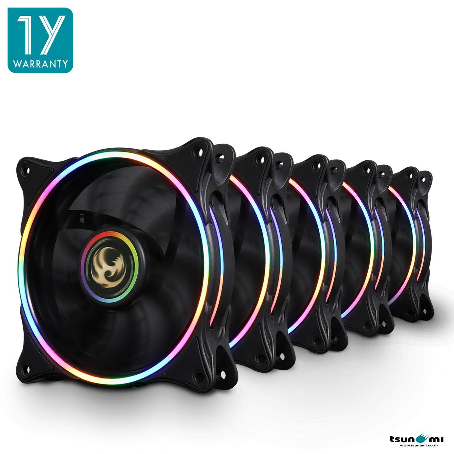Tsunami Neon Light Series 12CM RGB P.W.M. Speed control Cooling Fan X 5