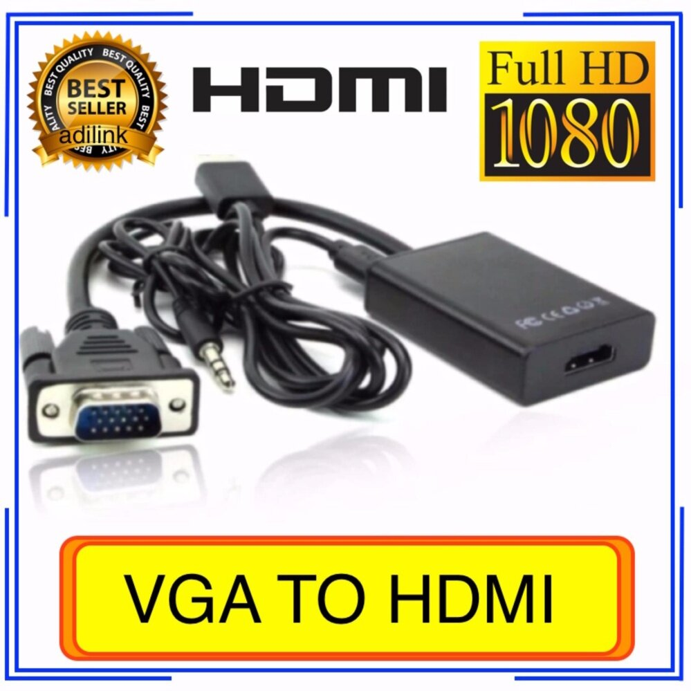 VGA TO HDMI with audio full hd มีเสียงด้วย (Black)