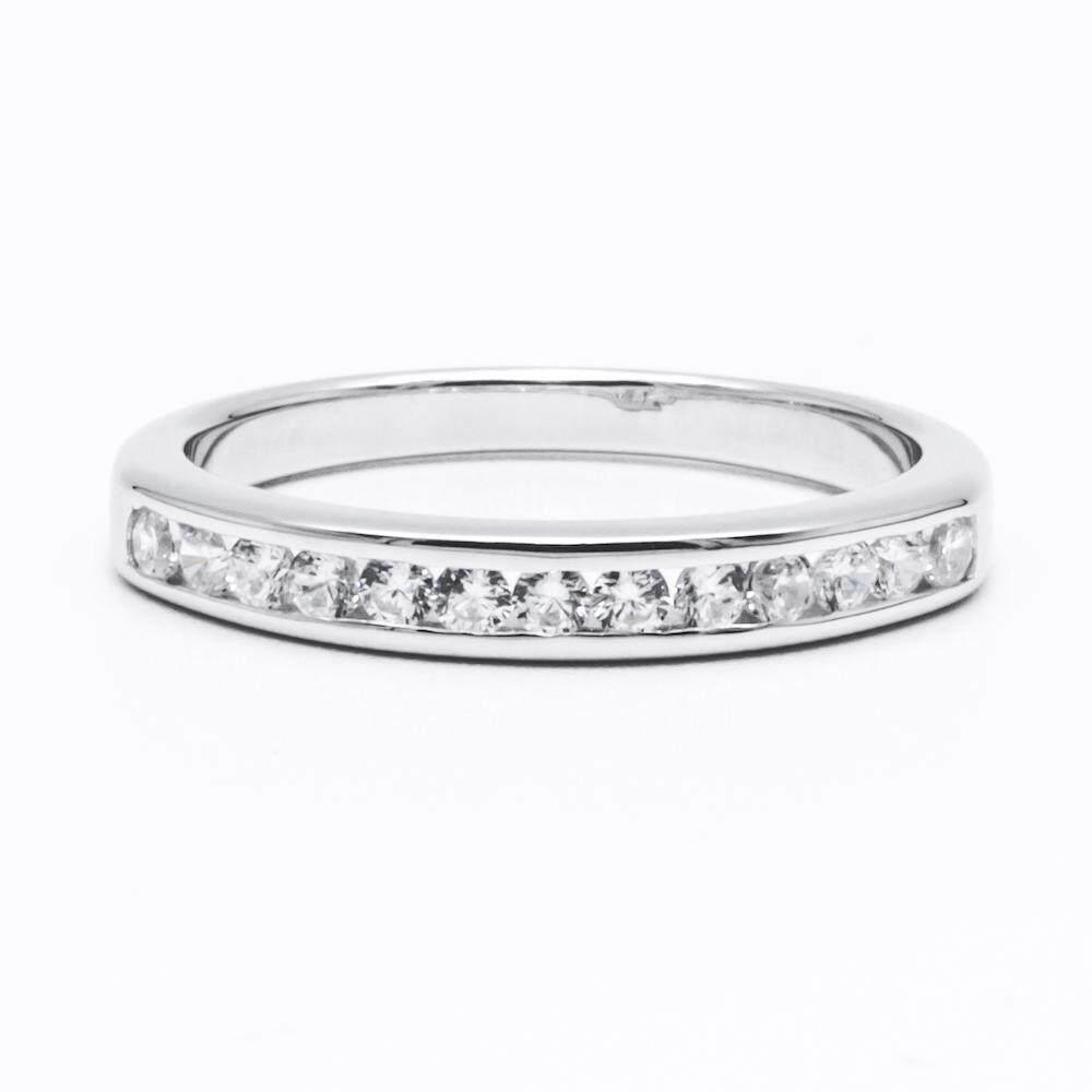 รีวิว Beauty Jewelry เครื่องประดับผู้หญิง 925 Silver Jewelry แหวนเงินแท้ประดับเพชร CZ แหวนฝังล็อค รุ่น RS2249-RR เคลือบทองคำขาว