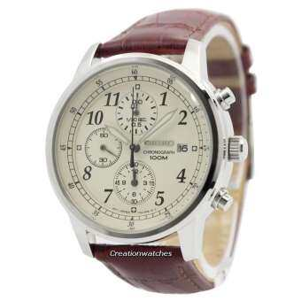 Seiko Watch Chronograph นาฬิกาข้อมือ Leather Strap Mens SNDC31P1 - White