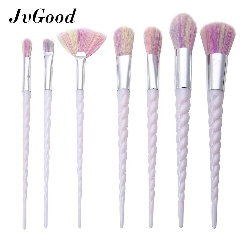 JvGood แปรงแต่งหน้า 7 Pieces Makeup Brush Set New Unicorn Thread Professional Face Eye Shadow Eyeliner Foundation Blush Lip Powder Liquid Cream Cosmetics Blending Brush Tool