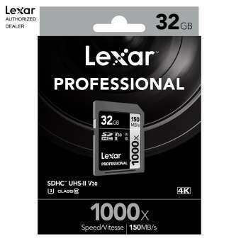 Lexar Professional 1000x 32GB SDHC/SDXC UHS-II cards (Up to 150MB/s Read)
