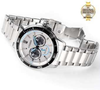 CITIZEN Eco-Drive Stainless Strap Men's Watch Stainless Strap รุ่น BU2040-56A - Silver/White