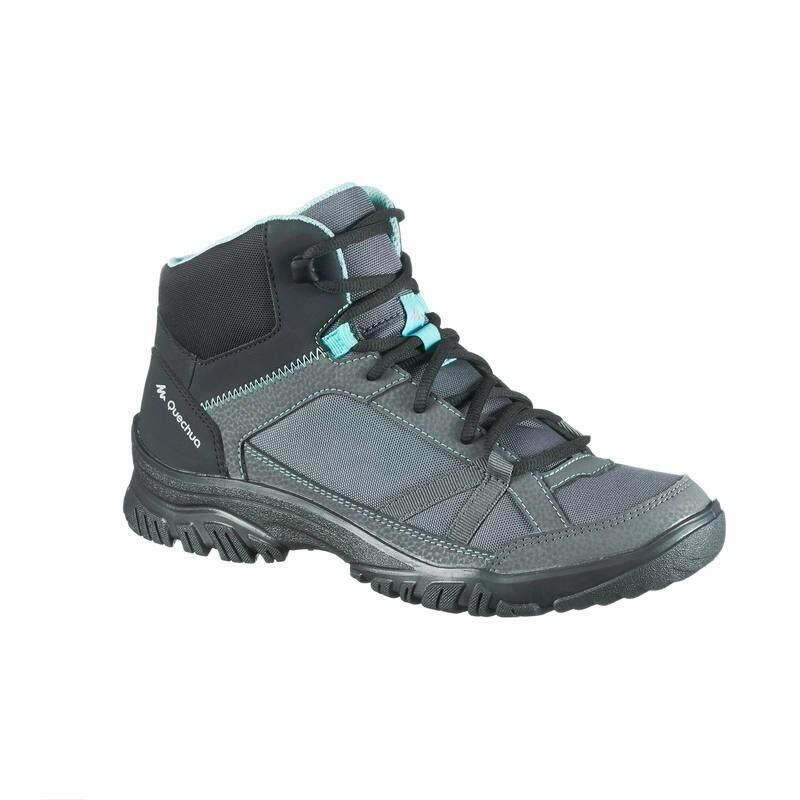 รองเท้าหุ้มข้อผู้หญิงสำหรับเดินป่าธรรมชาติรุ่น NH100 (สีเทา/ฟ้า)