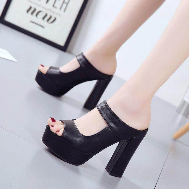 2NE Fashion Women High-heeled Sandals Fish Mouth Thick Bottom Coarse Heel Shoes