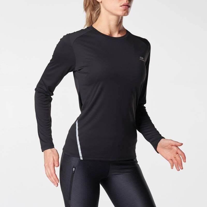 เสื้อยืดแขนยาวใส่วิ่งสำหรับผู้หญิงรุ่น RUN SUN PROTECT (สีดำ)