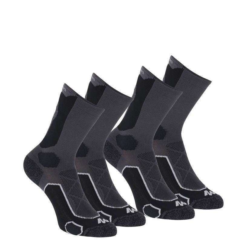 ถุงเท้าแบบยาวสำหรับเดินป่าบนภูเขา รุ่น FORCLAZ 500 2 คู่ (สีดำ/เทา)