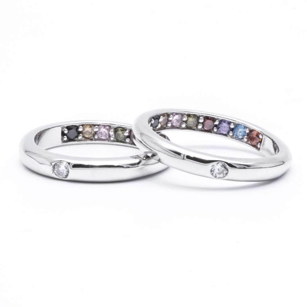 รีวิว Beauty Jewelry เครื่องประดับผู้หญิง 925 Silver Jewelry แหวนสิริมงคล แหวนพูนทรัพย์พลอยนพเก้า แหวนโชคลาภ แหวนเสริมดวง แหวนเงินแท้ประดับเพชร CZ รุ่น RS2266-RR เคลือบทองคำขาว