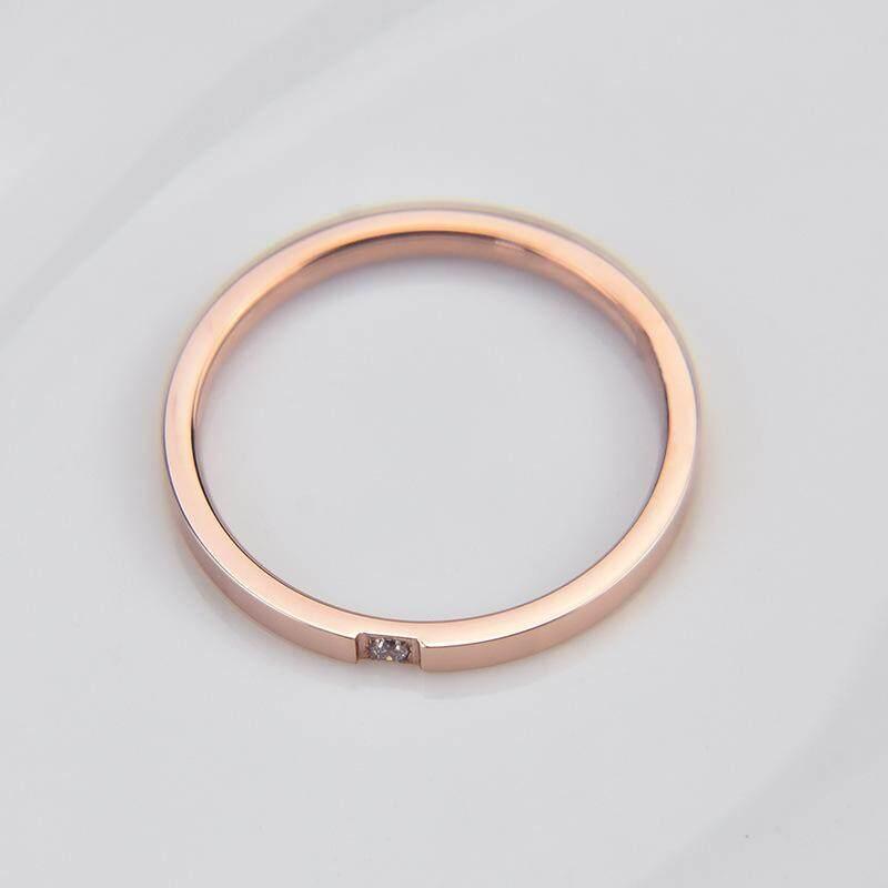 TANITTgems แหวนเกลี้ยงนากฝังเพชรสวิสแบบเรียบหรู