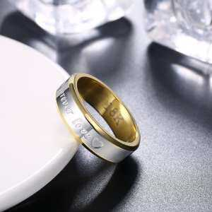 Hình thu nhỏ sản phẩm Silver Gold Plated Forever Love Letter Shape Finger Ring Round Wedding Ring