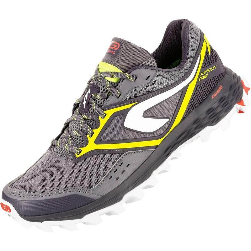 รองเท้าผู้หญิงสำหรับใส่วิ่งเทรลรุ่น KIPRUN TRAIL XT 7 (สีเทา/เหลือง)