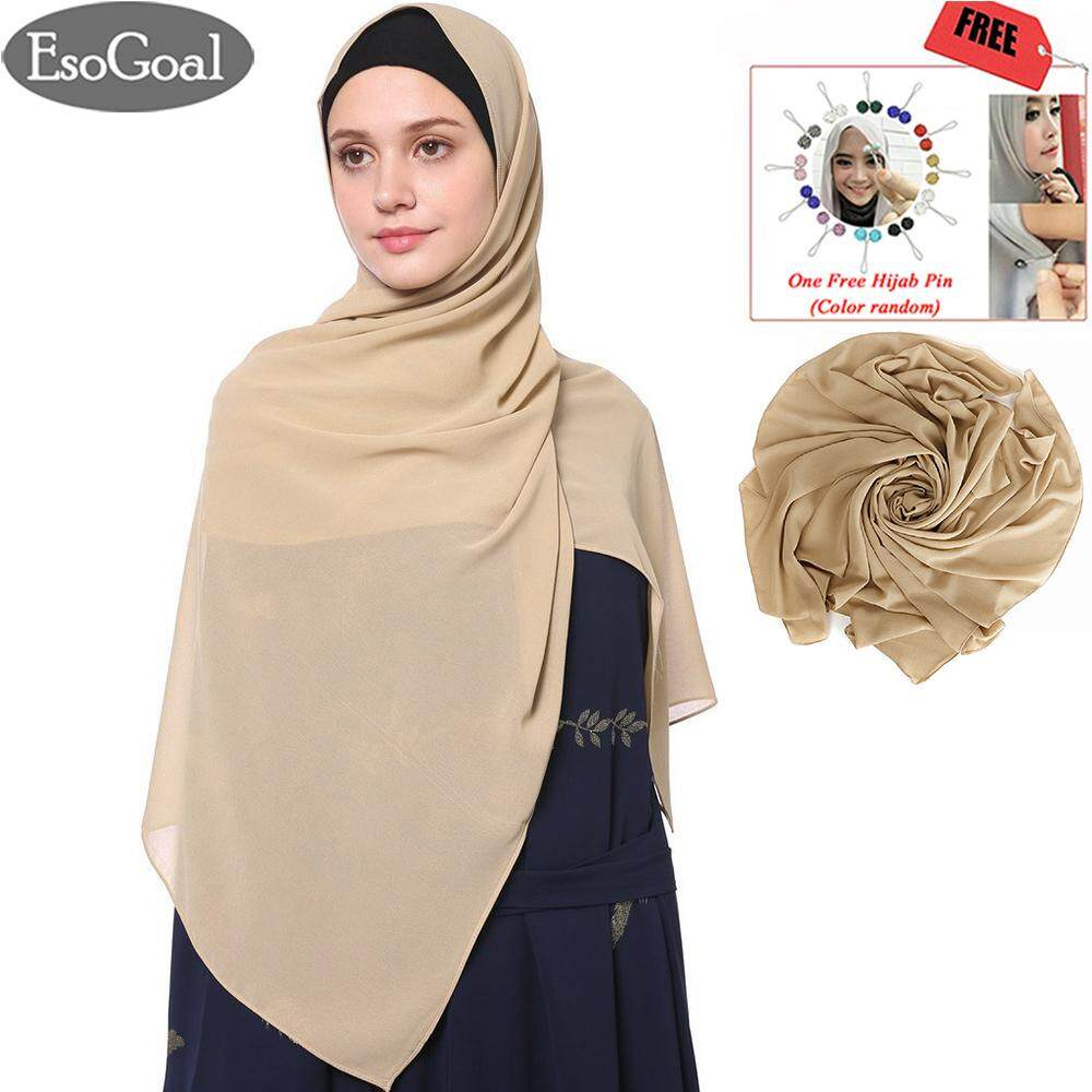 EsoGoal ฮิญาบแฟชั่น ผ้าพันคอผ้าโพกหัวหมวก Women's Modest Muslim Hijab Islamic Soft Solid Chiffon Hijab Cap Long Scarf Head Shawl with Hijab Pin