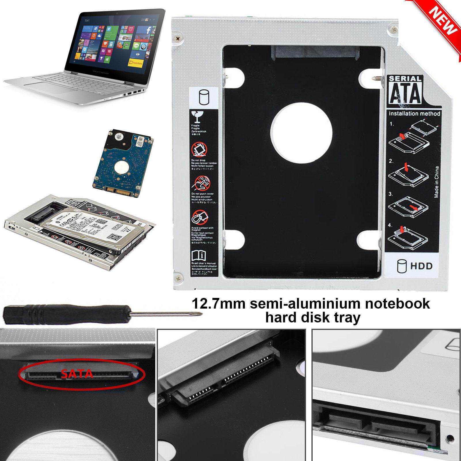 ถาดแปลง ใส่ HDD SSD ในช่อง DVD Notebook 12.7 mm Universal SATA 2nd HDD SSD Hard Drive Caddy