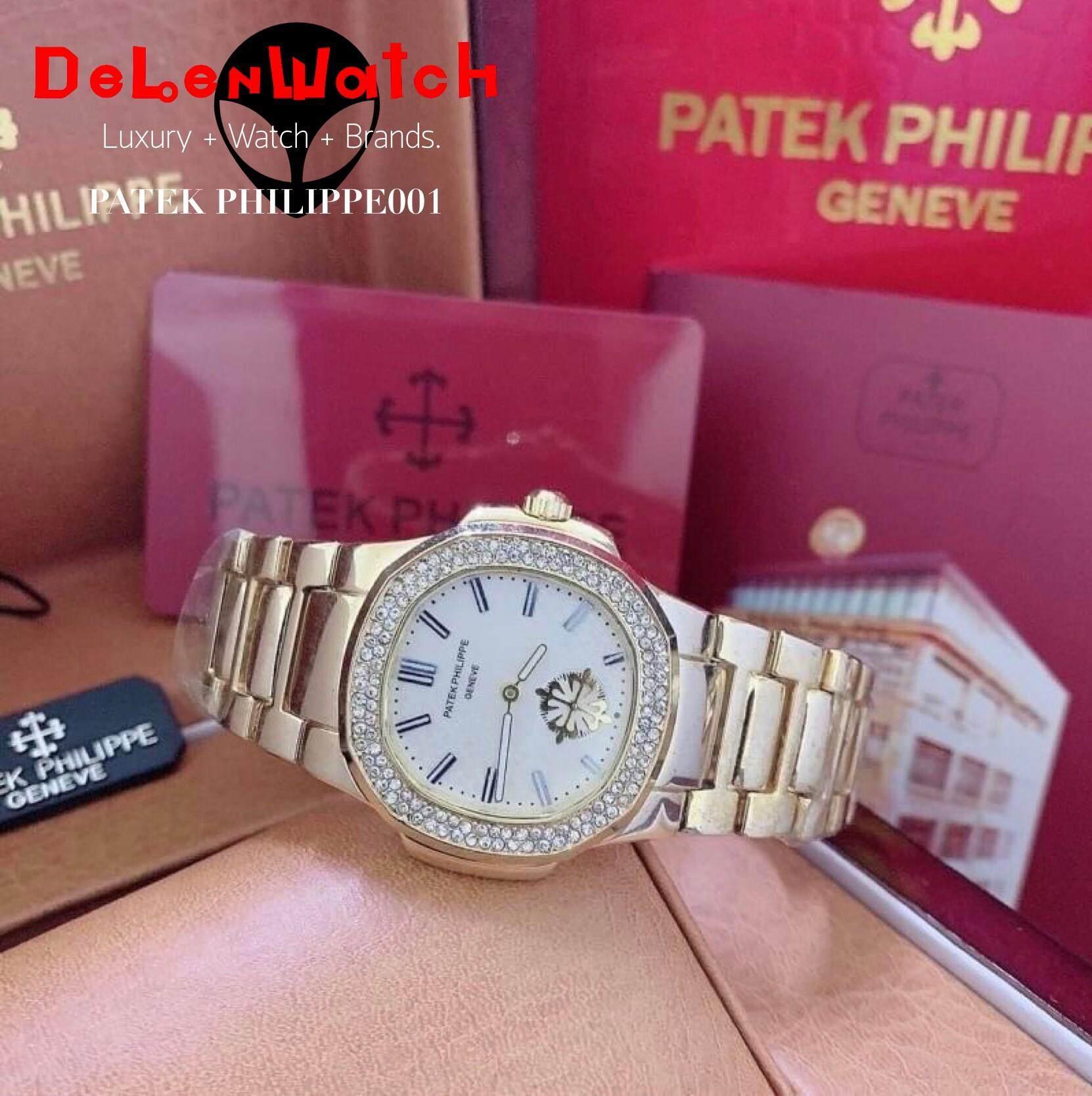 [ DeLenWatch ]-[ Patekwatch ]-stainless gold-นาฬิกาปาเต็ก สายสแตนเลส วงในใช้งานได้ ขนาดหน้าปัด 34 mm