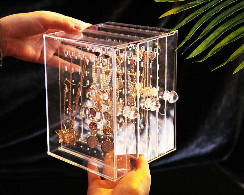 รีวิว กล่องเก็บเครื่องประดับ กล่องเก็บต่างหู/สร้อยคอ กล่องอะคริลิค ที่ใส่เครื่องประดับแนวตั้ง รุ่น 2420