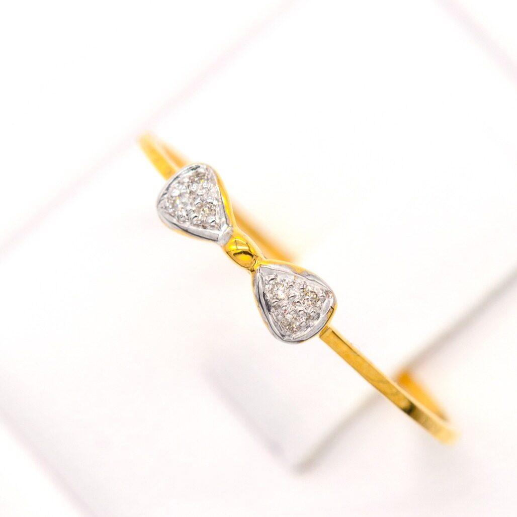 Happy Jewelry : แหวนเพชรของแท้ โบว์บางมินิมอล เพชรแท้เกสร ทองแท้ 9k (37.5%) ขายได้ จำนำได้