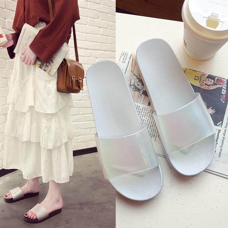NEW2019!รองเท้าแตะผู้หญิง รองเท้าแตะแฟชั่น ยางPVC กันลื่น นิ่มใส่สบายเท้า เข้ากับชุดได้ง่าย ใส่เที่ยวเดินสบาย รุ่น1912
