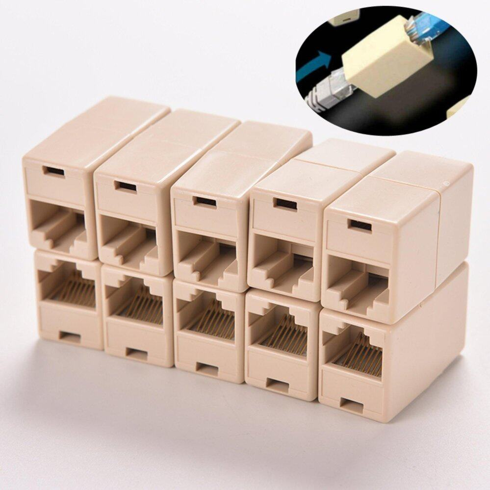 10pcs RJ45 CAT5 Coupler Plug Network LAN Cable Extender Joiner Connector Adapter (Intl)