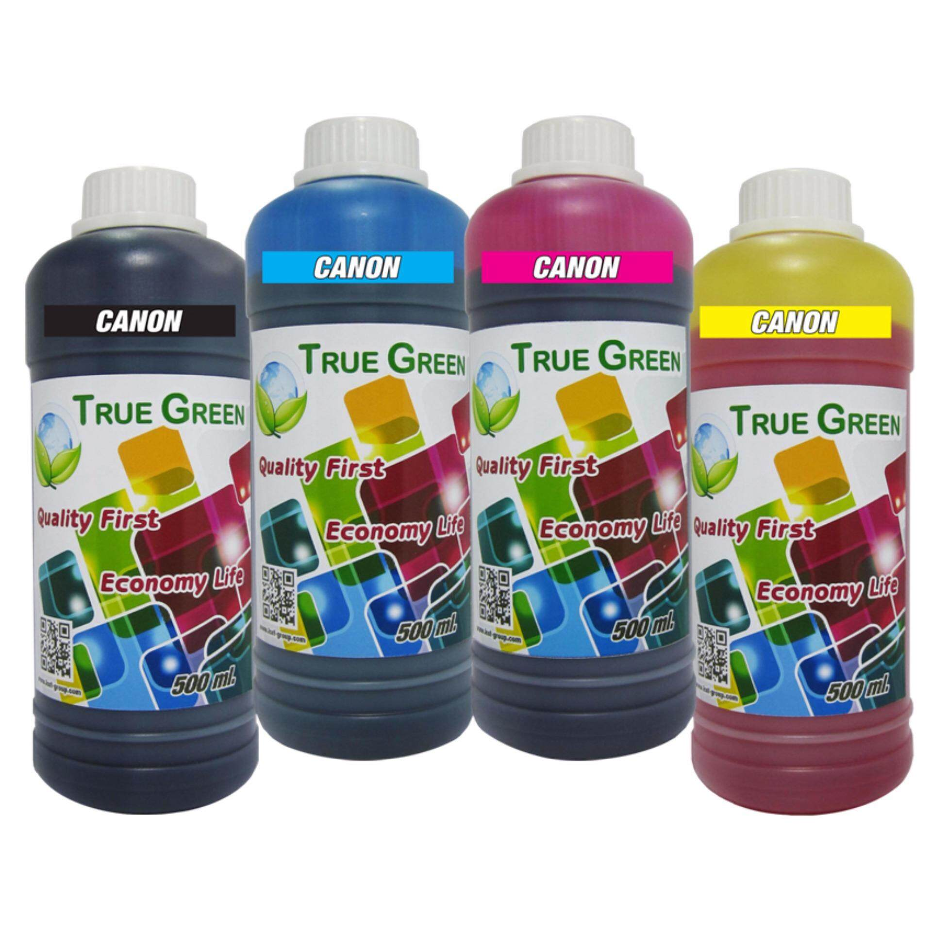 True Green inkjet refill CANON 500ml. all model : B/C/M/Y (หมึกเติม Canon ชุด 4 ขวด B/C/M/Y)