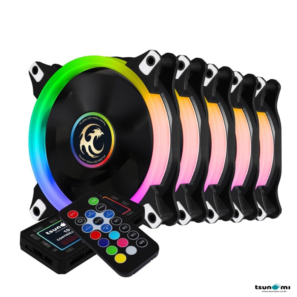 Tsunami Circle Series Mono-Ring RGB-120 RGB Fan Remote Control X 5 Cooling fan