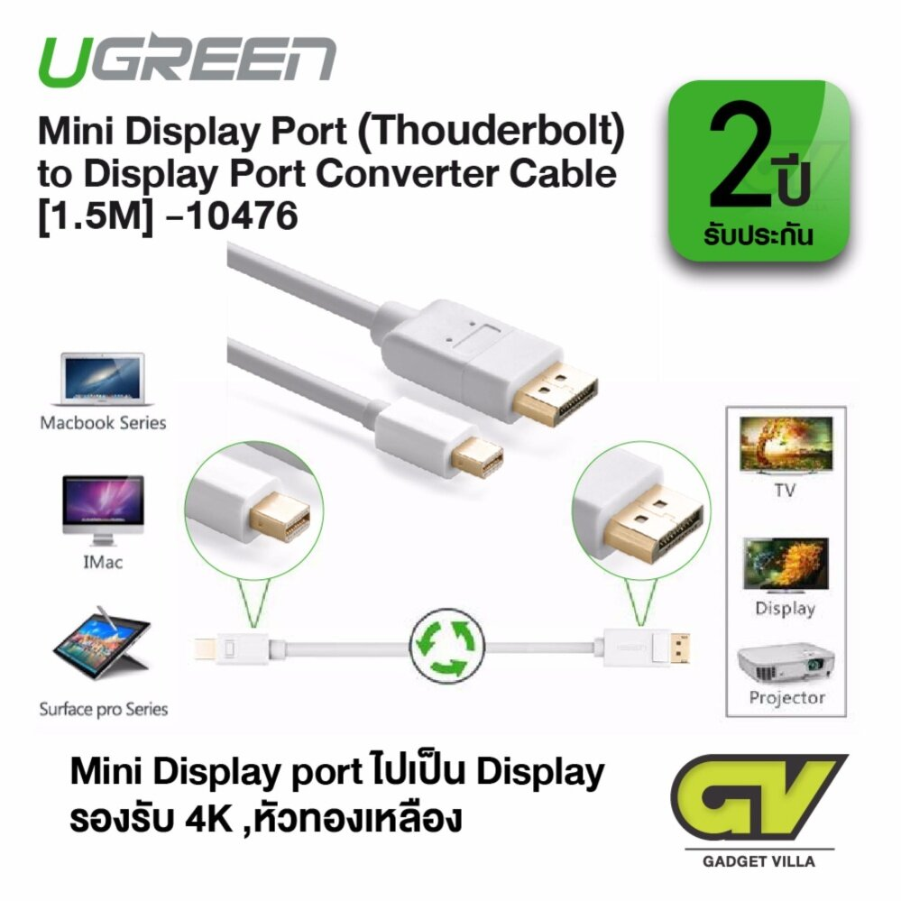 UGREEN รุ่น 10476 Mini DP to DP Cable Mini Displayport Thunderbolt to Displayport Male to male Audio Video Adapter Cable 4Kx2K Resolution Compatible for MacBook, Ultrabook, or Tablet 1.5M (สีขาว)