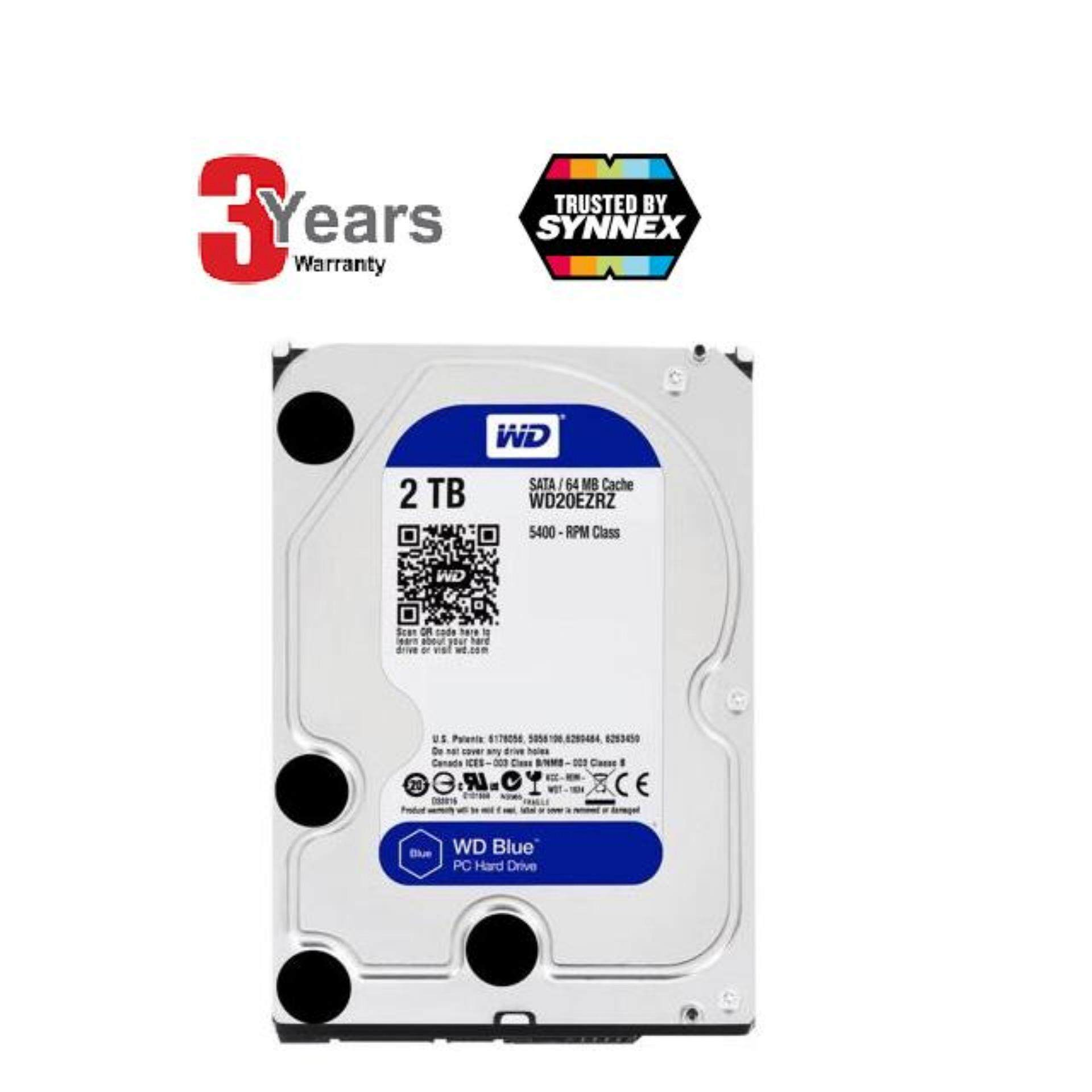 Western Digital WD Blue 2TB Desktop HDD Internal Hard Disk Drive 5400 RPM SATA 6Gb/s 64MB Cache 3.5-inch WD20EZRZ BY SYNNEX
