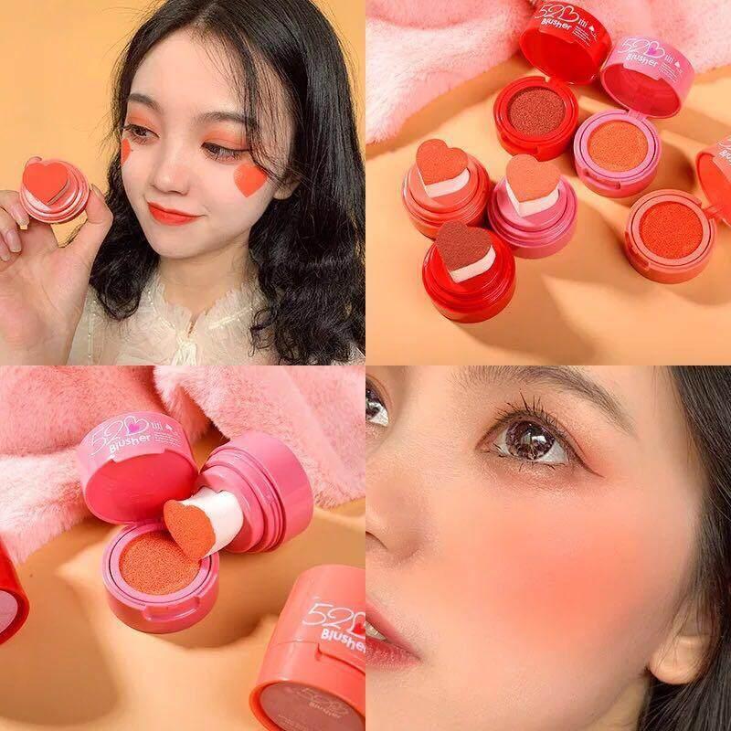 52♡ Blush xixi บลัชคูชชั่นที่น่ารักสุดๆอะ พร้อมพัพรูปหัวใจมุงมิ้งเว่อร์ มีให้เลือก3สี 01ชมพูตุ่น 02ส้มพีช 03ชมพูพีช