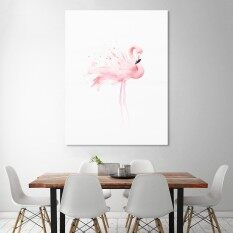 Watercolor Flamingo Canvas Poster Nordic Art Wall Painting Home Decor 30cmX40cm