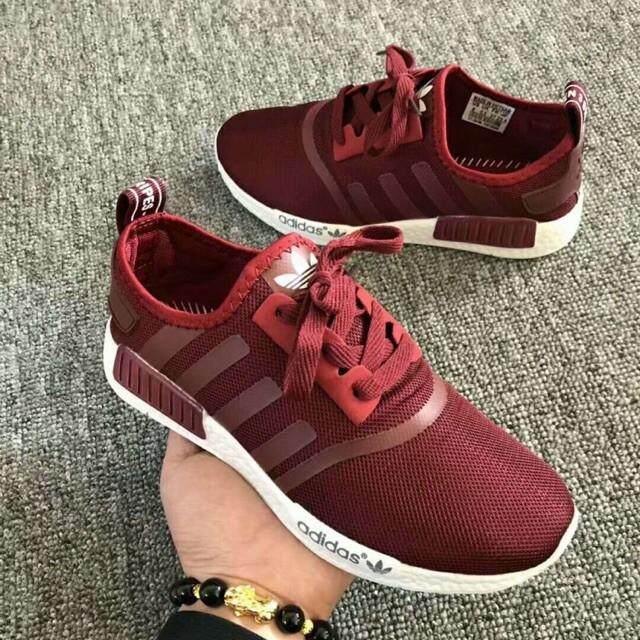การใช้งาน  ยโสธร Wholesale_ADIDAS_NMD_MAROON_men_and_women_sports_running_shoes