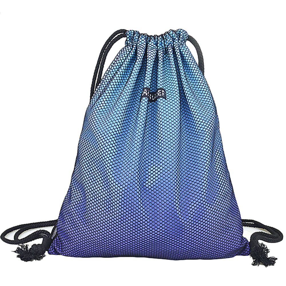 Portable Polyester Drawstring Bag Leisure Travel Sports Gym Lightweight String Backpack Blue - intl