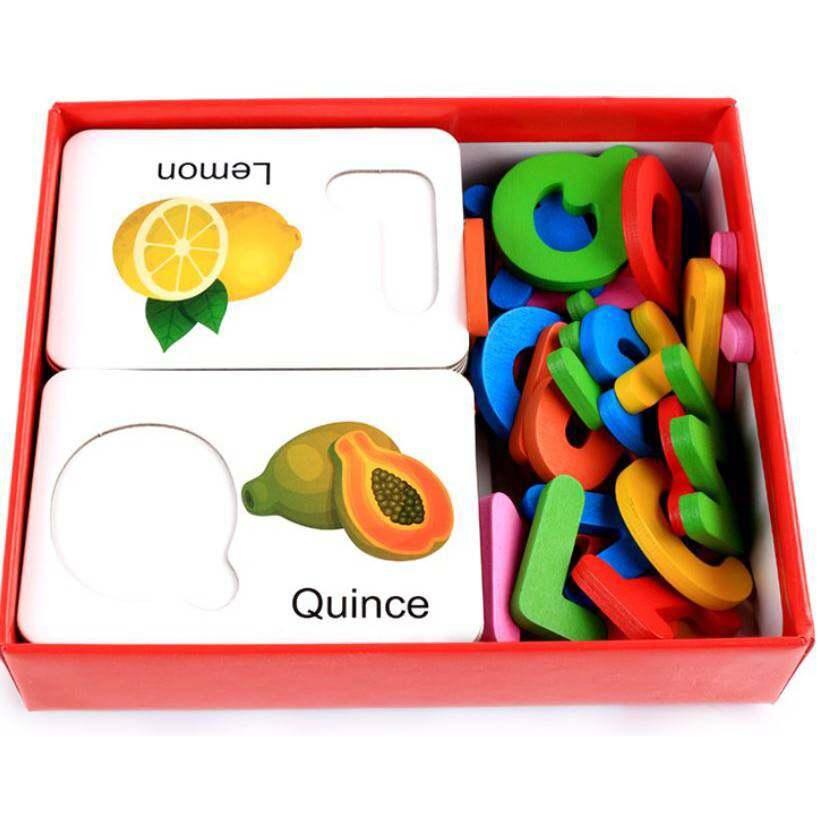 Kids Toys ของเล่นไม้ ของเล่นเสริมพัฒนาการ Flash Card จับคู่ ABC กับผักผลไม้