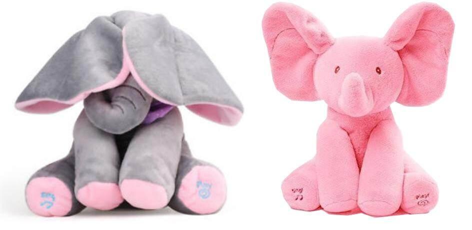 ตุ๊กตาช้าง อิเล็กทรอนิกส์, ขยับหู เล่นเพลงและพูดได้, ตุ๊กตาเด็กน่ารัก Electronic Stuffed Peekaboo Elephant, Plays Songs and Talks While Moving Its Ears, Cute Stuffed Kids Toy