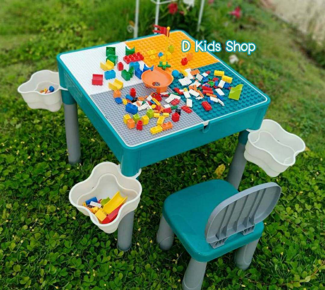 D Kids ชุดโต๊ะตัวต่อ+เก้าอี้1ตัว+ตัวต่อเลโก้360ชิ้น+ตะกร้าใส่เลโก้4ชิ้น เกรดพรีเมี่ยม Lego 2in1 Construction Table Set คุ้มที่สุดดดดด โต๊ะเลโก้ โต๊ะต่อเลโก้