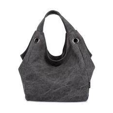 360DSC Women Large Capacity Pure Color Canvas Hobo Bags Shoulder Bag Handbag - Black - Intl