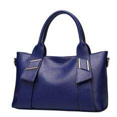 360DSC Womens Litchi Graining PU Leather Large Tote Handbag Cross Body Shoulder Bag - Sapphire Blue