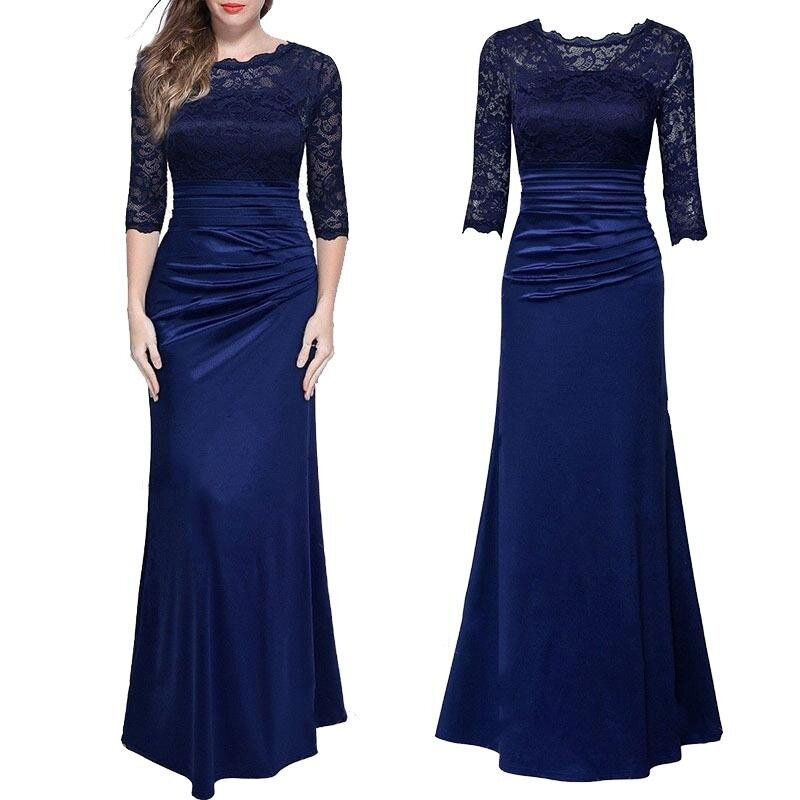 Amart Fashion Women Long Dress Lace Splice Slim Elegent Ladies Wedding Party Formal Dresses(Blue) - intl