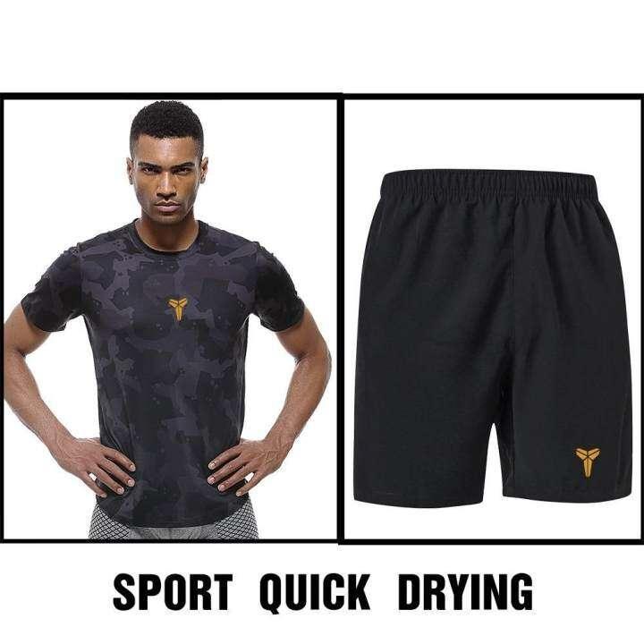 BB ชุดออกกำลังกายผู้ชาย เชต 2 ชิ้น เสื้อแขนสั้น คอกลม + กางเกงขาสั้น ซับเหงื่อ แห้งเร็ว (สีดำ) รุ่น K20+K22