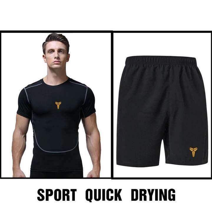 BB ชุดออกกำลังกายผู้ชาย เชต 2 ชิ้น เสื้อแขนสั้น คอกลม + กางเกงขาสั้น ซับเหงื่อ แห้งเร็ว (สีดำ) รุ่น K20+K3