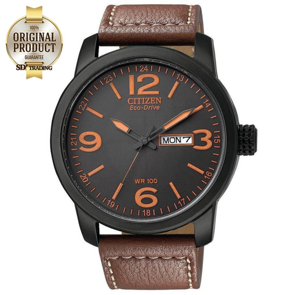 CITIZEN  Eco-Drive Leather Strap Men's Watch รุ่น BM8475-26E - Black PVD / Orange